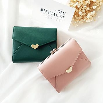 New Small Frame Wallet Girl Sweetheart Metal Hasp Closed Purse Fresh Style Wallets For Lady Cute Japanese Wallet Green Cash Bag