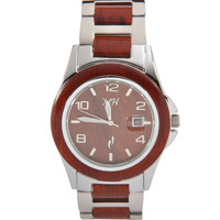 Men's Wooden Watch Rose Wood and Stainless Steel Bracelet Number Dial