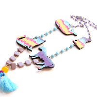 Long Statement Necklace with Cat, Whale, Rabbit and Unicorn - Noah Arc collection