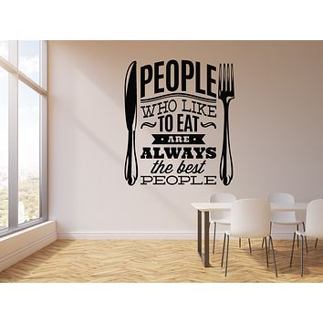 Vinyl Wall Decal People Like To Eat Quote Kitchen Dining Room Decor Stickers Mural (g171)