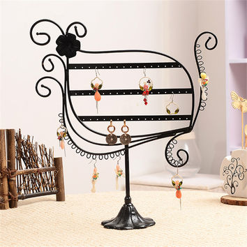 Geometric Shaped Black Jewelry Earring Cases&Display Hot Sell Dangle Earrings Display Rack Jewelry Stands Holder