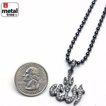 """Jewelry Kay style Men's Fashion Iced Out Allah Sign Pendant 20"""" Ball Chain Necklace Set MMP 805 HE"""