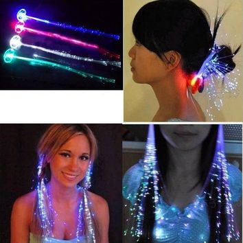 12pcs/lot LED Colorful flash braid hair,kids toys,For bar dance festival concert holiday celebrating, supplies of luminous braid
