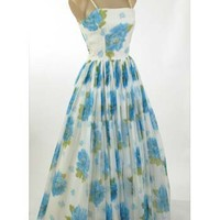 60's Vintage Dresses-60s White Blue Floral Chiffon Formal Gown-Prom Dress