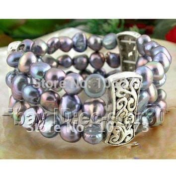 Stretchy! 3Rows AA8-9MM Baroque Shaper Genuine Freshwater Black Gray Real Pearl Bracelet Beautiful Pearl Jewellery Free Shipping