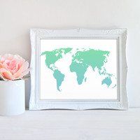 World Map Blue Green Gradient Printable Sign, Globe Printable Digital Wall Art Template, Instant Download, Customizeable 8x10