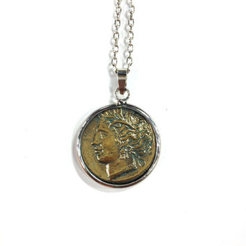 Ancient greek Persephone and Ajax the Lokrian brass coin pendant sterling silver necklace
