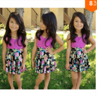 Girls Two Pattern Solid and Floral Dress