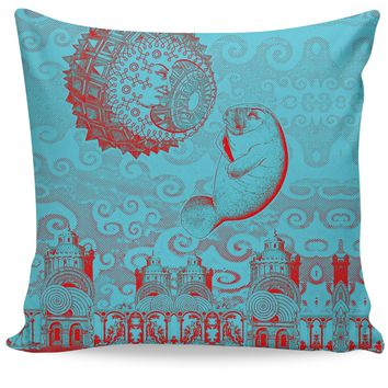 Moon and Manatee Couch Pillow