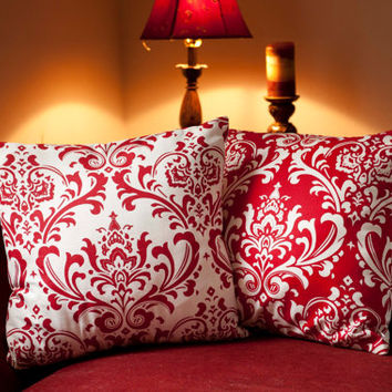 Christmas Pillow Cover Set - 20 x 20. Set of 2. Modern Red Damask Cushion Covers, Elegant Pillows, Christmas Decor, Cushions, Scroll Pillows