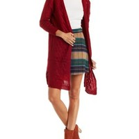 Berry Cable Knit Duster Cardigan Sweater by Charlotte Russe