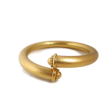 Vintage Matte Gold Tone Bracelet, Rounded Bypass Bangle