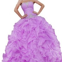 Sunvary 2015 Rhinestone Pleated Ball Gown Prom Dresses for Quinceanera Long