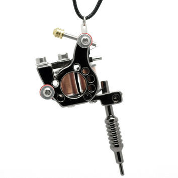 LASPERAL 1PC Gunmetal Mini Tattoo Machine Necklace Punk Style Pendant Necklace For Women & Men Hip Hop & Rock Jewelry Gifts