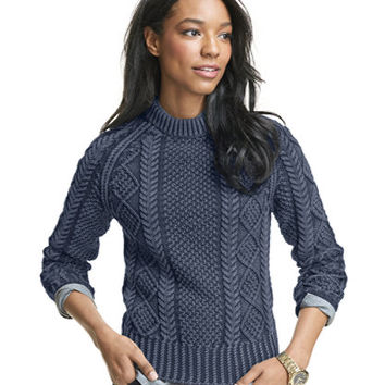 Women's Signature Cotton Fisherman Sweater, Washed | Now on sale at L.L.Bean
