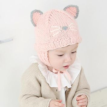 Infant Baby Girls Hat Toddler Kids Autumn Winter Warm Hats Cute Cat Knitted Beanie Caps Boys Girls Newborn Photo Props