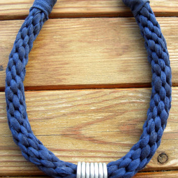 Tshirt yarn Necklace, Cotton Necklace, Kumihimo Necklace, Navy Necklace, Fiber Necklace, Cotton Choker, Fiber Choker, Tshirt Yarn Jewelry.