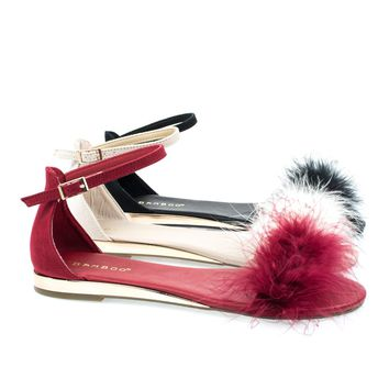 Interest18M By Bamboo, Faux Marabou Fluffy Fur Open Toe Sandal, Women Metallic Wedge Sandal