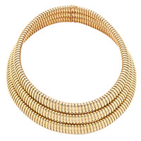 Cartier 1970s Yellow Gold and Steel Tubogaz Necklace