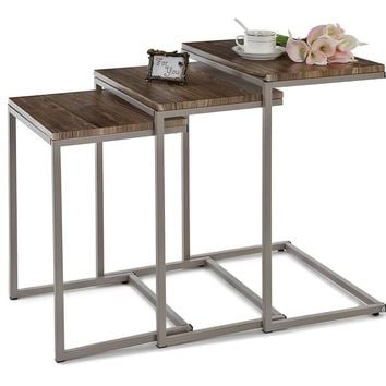 3PCS Metal Frame Nesting Console Tables Set/ Sofa Couch Coffee Tables