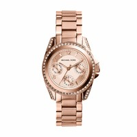 Michael Kors Mini Blair Rose Gold-Toned Stainless Steel Ladies Crystal Watch