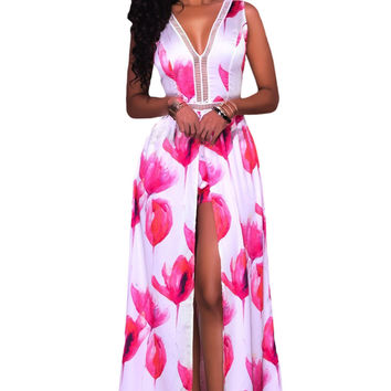 Rosy White Flowers Print Backless Short Jumpsuit With Maxi Overlay LAVELIQ