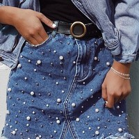 Irregular Pearls Jean Skirt