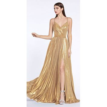 Criss-Cross Back with Slit Metallic Long Prom Dress Gold
