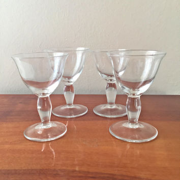 Vintage Mini Martini Glasses/Retro Martini Glasses/Vintage Barware Glass Set/Glassware/Retro Tiny Martini Glass/Vintage Shot Glass/Set of 4