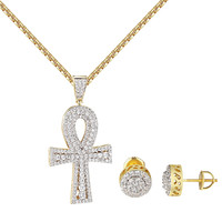 Solitaire Ankh Cross Pendant 14k Gold Plate Iced Out Halo Earrings Hip Hop Chain
