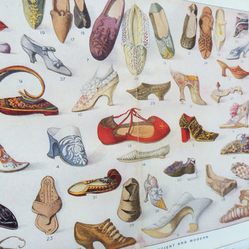 Original antique print of shoes and slippers. Historical reference of footwear. Frame as gift for friend interested in shoe design.