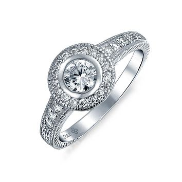 1CT Circle Solitaire AAA CZ Bezel Halo Engagement Ring Sterling Silver