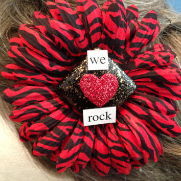We Rock, Gift for Girlfriend, Wife Gift, Red Hair Flower, Animal Print, Pinup, Rockabilly, Retro, Music Lover, Band Gift