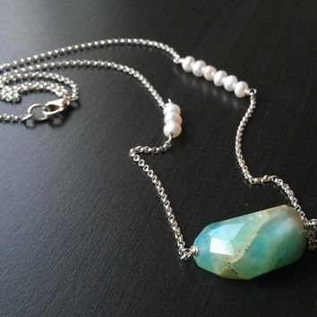 Peruvian Blue Opal and White Pearl Necklace - .925 Sterling Chain - Ready to Ship