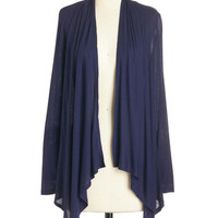ModCloth Mid-length Long Sleeve So Very Classic Cardigan in Navy