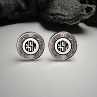 Snake Skin Personalized  Monogram Cuff Links 20mm/Personalized Snake Skin Silver Cufflinks for Him/Men Gift/ Burlap Monogram Cuff Links