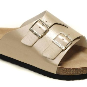 Birkenstock leather cork flats men's and women's casual sandals slippers
