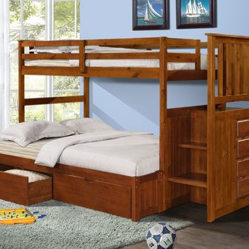Alexander Bunk Bed with Storage Drawers, Stairs, and Built-in Dresser in Twin over Full