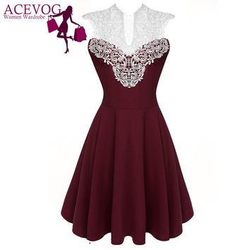 ACEVOG Women Summer Lace Dress Sexy vestidos 2016 Lady Sleeveless Lace Patchwork High Waist Pleated Casual Knee Length Dress