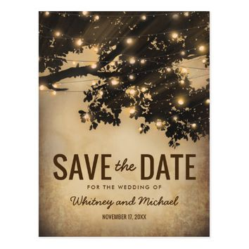 Vintage Rustic Country Tree Lights Save the Date Postcard