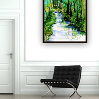 Forest river watercolor painting abstract landscape green color wall art print blue nature forest decor decal square print small livingroom