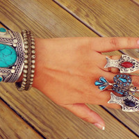 Fish Rings.Vintage Turquoise- Coral-Aqeeq Silver Hand carved rings.Statement rings.Bohemian Bird Rings.Stone Rings.