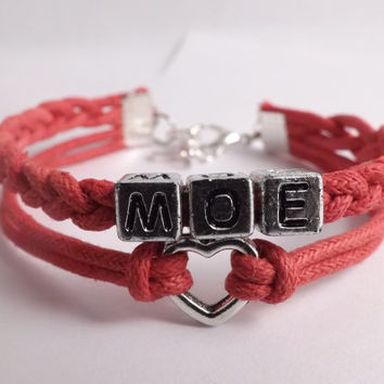 Personalized Heart Charm Bracelet - Made in USA - Faux Leather - Waxed cotton cord - friendship gift - birthday gift