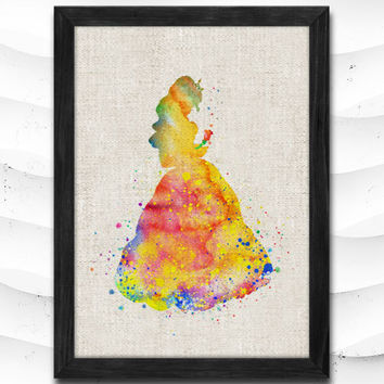 Beauty and the Beast Disney Watercolor Art Print Home Decor Giclee Wall Art Poster Wall Decor Art Home Decoration Linen Poster CAP12