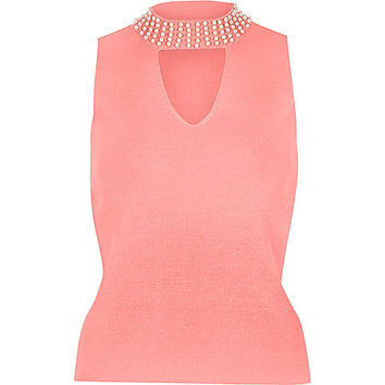 Pink embellished neck choker top - cami / sleeveless tops - tops - women