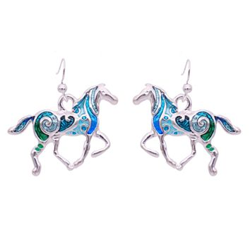 Horse In Blue Enamel Design Earrings