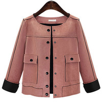 Pink Front Button Jacket with Pocket