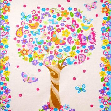 Easy Fabric Panel Baby Quilt Kit Baby Blossom Bird Butterflies Trees