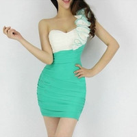 Women Sexy Evening Cocktail Green one shoulder Dance Wear Costume Party Dress Green one size = 1956740484