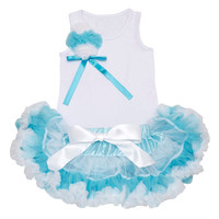 Lollipop Moon Turquoise & White Petti Dress